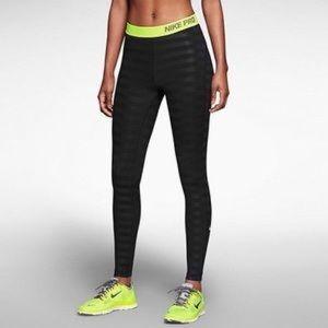 NIKE PRO Striped Leggings Large Black Green Size L
